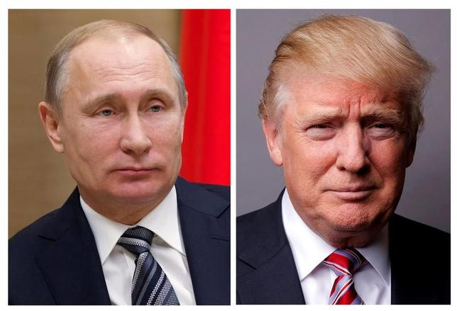 5月2日、トランプ米大統領(写真右)は、ロシアのプーチン大統領(同左)と電話会談を行い、シリア和平に向けた協力体制や北朝鮮問題などについて協議した。今回の電話会談は米軍によるシリア空爆以来初めて。写真はトランプ氏が2016年5月撮影、プーチン氏が同年1月撮影(2017年 ロイター/Ivan Sekretarev/Pool/Lucas Jackson/File Photos)