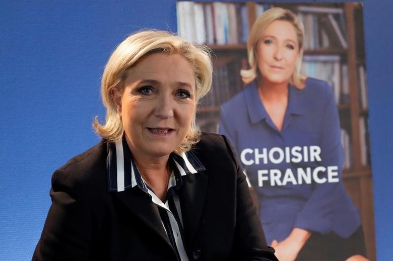 2017年5月2日,法国巴黎,法国极右翼总统候选人勒庞接受路透专访。REUTERS/Charles Platiau