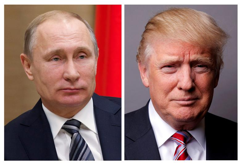 FILE PHOTO: A combination of file photos showing Russian President Vladimir Putin at the Novo-Ogaryovo state residence outside Moscow, Russia, January 15, 2016 and U.S. President Donald Trump posing for a photo in New York City, U.S., May 17, 2016. REUTERS/Ivan Sekretarev/Pool/Lucas Jackson/File Photos