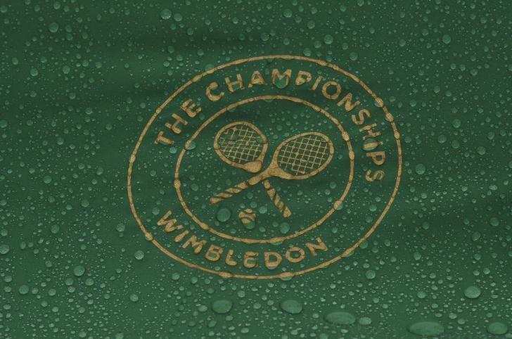 Britain Tennis - Wimbledon - All England Lawn Tennis & Croquet Club, Wimbledon, England - 28/6/16  A general view of the Wimbledon logo in the rain REUTERS/Toby Melville