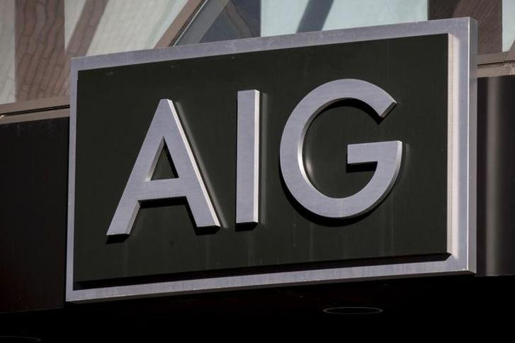 FILE PHOTO - The AIG logo is seen at its building in New York's financial district March 19, 2015. REUTERS/Brendan McDermid