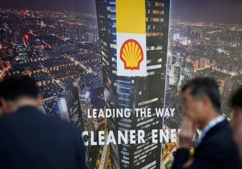 A logo of Royal Dutch Shell is seen at Gastech, the world's biggest expo for the gas industry, in Chiba, Japan, April 4, 2017.    REUTERS/Toru Hanai/Files