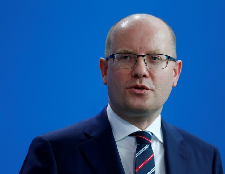 FILE PHOTO - Czech Republic Prime Minister Bohuslav Sobotka speaks during the news conference at the Chancellery in Berlin, Germany, April 3, 2017. REUTERS/Hannibal Hanschke/File Photo