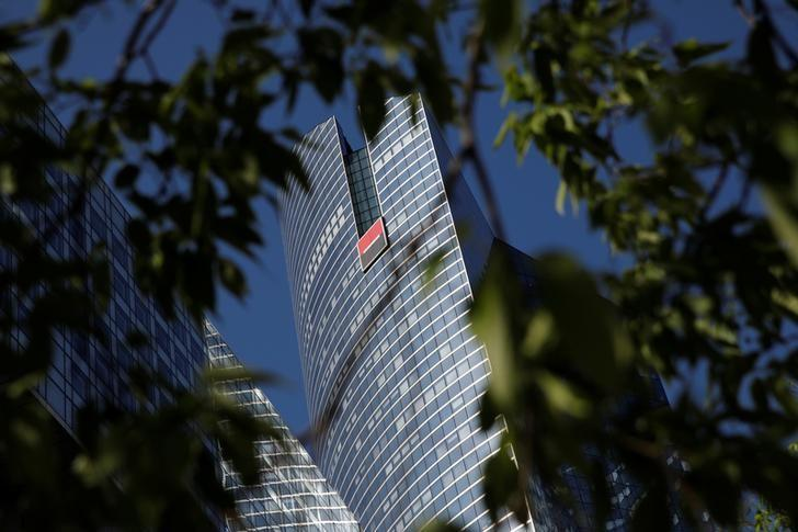 A view shows the logo on the headquarters's of French bank Societe Generale at the financial and business district of La Defense, west of Paris, France, April 18, 2017. REUTERS/Benoit Tessier/Files