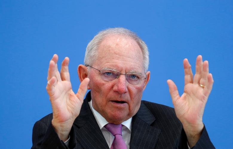 German Finance Minister Wolfgang Schaeuble presents draft budget for 2018 and mid-term plans for state spending until 2021 during a news conference in Berlin, Germany, March 15, 2017.     REUTERS/Fabrizio Bensch/File Photo