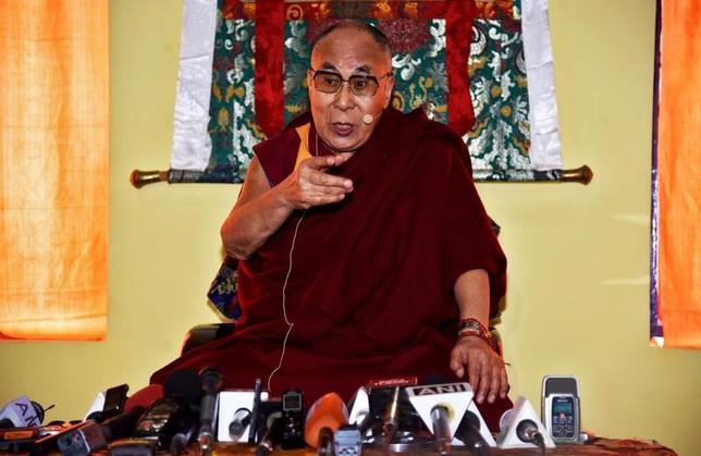 Tibetan spiritual leader Dalai Lama speaks at a press conference after delivering teachings at Yiga Choezin, in Tawang, in the northeastern state of Arunachal Pradesh, India April 8, 2017. REUTERS/Anuwar Hazarika