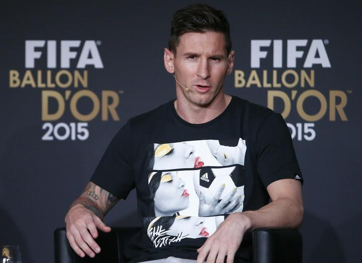 Nominee for the 2015 FIFA World Player of the Year FC Barcelona's Lionel Messi of Argentina attends a news conference prior to the Ballon d'Or 2015 awards ceremony in Zurich, Switzerland, January 11, 2016     REUTERS/Ruben Sprich/Files