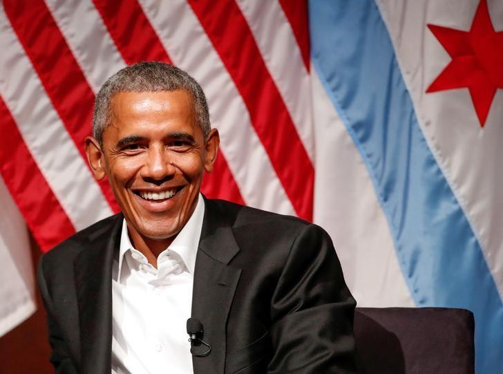 FILE PHOTO - Former U.S. President Barack Obama speaks during a meeting with youth leaders at the Logan Center for the Arts at the University of Chicago to discuss strategies for community organization and civic engagement in Chicago, Illinois, U.S., April 24, 2017. REUTERS/Kamil Krzaczynski/File Photo