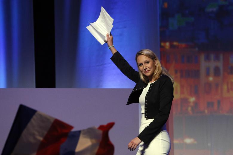Marion Marechal-Le Pen, French National Front political party deputy, attends a political rally as she campaigns for Marine Le Pen, French National Front (FN) political party leader and candidate for  the French 2017 presidential election, in Marseille, France, April 19, 2017. REUTERS/Robert Pratta