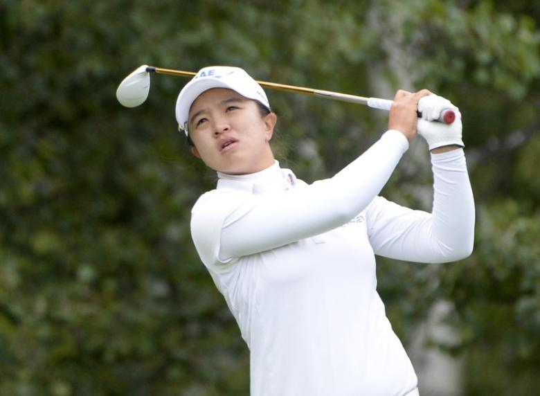Aug 28, 2016; Calgary, Alberta, CAN; Sei Young Kim of South Korea hits her drive out off the 13th tee box during the final round of the Canadian Pacific Women's Open at Priddis Greens Golf and Country Club. Mandatory Credit: Eric Bolte-USA TODAY Sports  / Reuters