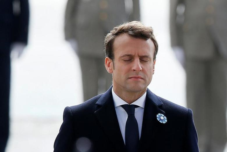 French President-elect Emmanuel Macron attends a ceremony to mark the end of World War II at the Tomb of the Unknown Soldier at the Arc de Triomphe in Paris, France, May 8, 2017.   REUTERS/Francois Mori/Pool