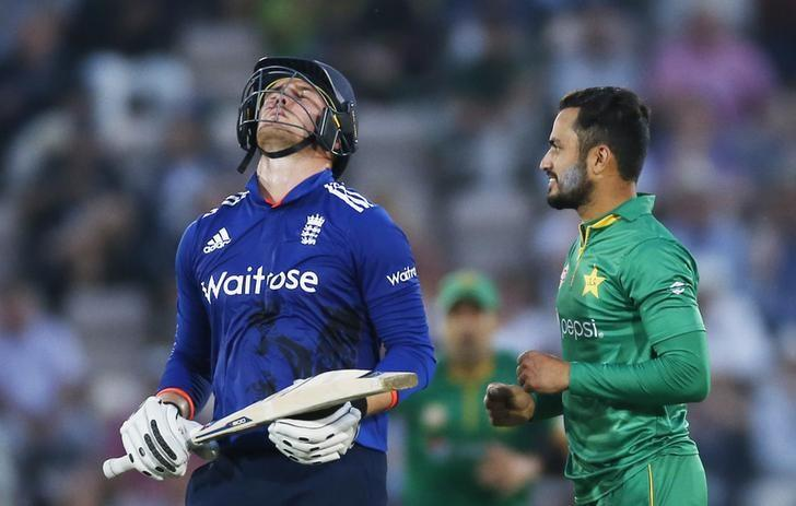 Cricket Britain - England v Pakistan - First One Day International - The Ageas Bowl - 24/8/16Pakistan's Mohammad Nawaz celebrates taking the wicket of England's Jason RoyAction Images via Reuters / Paul ChildsLivepic/File Photo