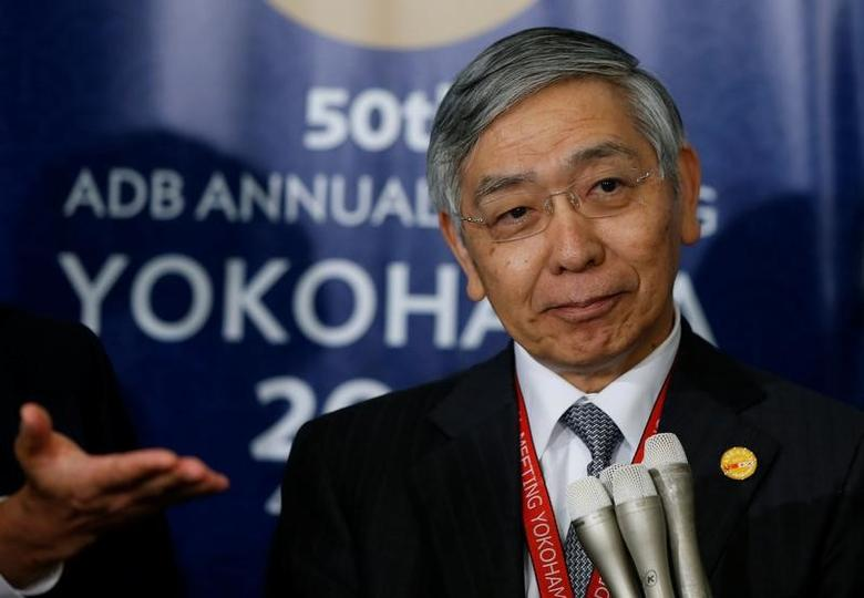 Bank of Japan Governor Haruhiko Kuroda speaks to media at the Asian Development Bank (ADB)'s annual general meeting in Yokohama, south of Tokyo, Japan May 4, 2017. REUTERS/Issei Kato