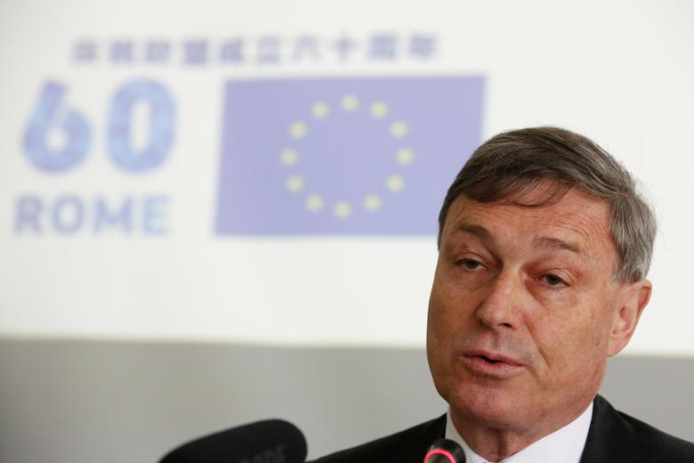 EU Ambassador to China Hans Dietmar Schweisgut attends a news conference at the Delegation of the European Union to China in Beijing May 9, 2017.  REUTERS/Thomas Peter