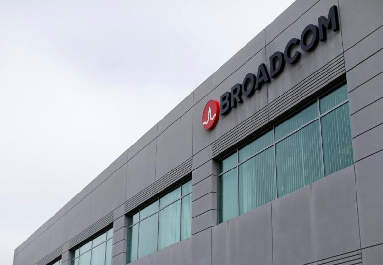 FILE PHOTO: Broadcom Limited company logo is pictured on an office building in Rancho Bernardo, California May 12, 2016.   REUTERS/Mike Blake