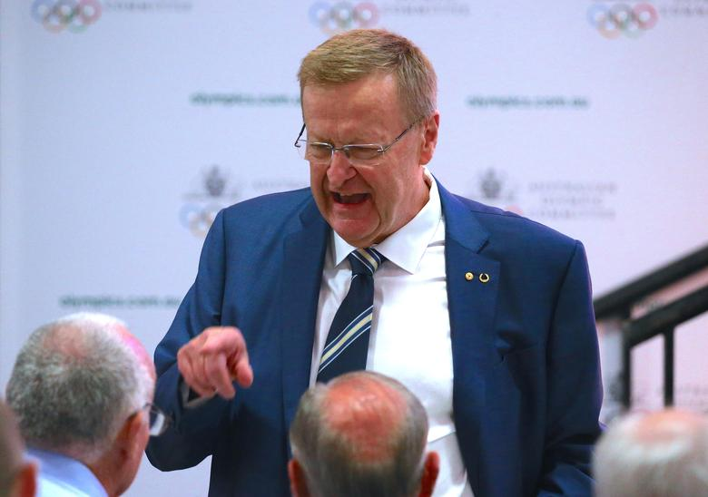 International Olympic Committee (IOC) Vice President and Australian Olympic Committee (AOC) President John Coates speaks to delegates before the ballot for the position of AOC President at the body's annual general meeting in Sydney, Australia, May 6, 2017.     REUTERS/David Gray