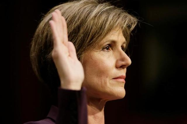 """Former Deputy Attorney General Sally Yates is sworn in prior to testifying before a Senate Judiciary Committee hearing on """"Russian interference in the 2016 U.S. election"""" on Capitol Hill in Washington, U .S., May 8, 2017. REUTERS/Jim Bourg"""