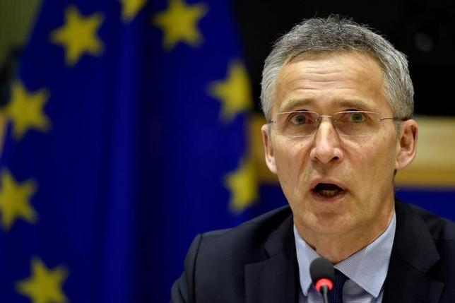 NATO Secretary General Jens Stoltenberg gestures during a meeting at the European Parliament in Brussels, Belgium May 3, 2017. REUTERS/Eric Vidal