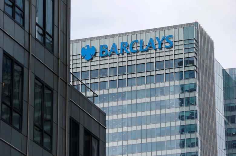 FILE PHOTO: A Barclays bank office is seen at Canary Wharf  in London, Britain May 19, 2015.  REUTERS/Suzanne Plunkett/File Photo