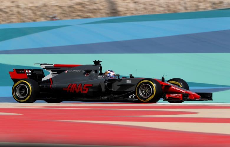 Formula One - F1 - Bahrain Grand Prix - Sakhir, Bahrain - 14/04/17 - Haas Formula One driver Romain Grosjean of France drives during the first practice session of the Bahrain F1 Grand Prix. REUTERS/Hamad I Mohammed