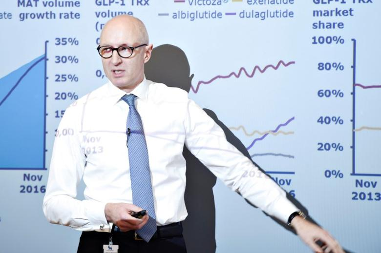Danish healthcare company Novo Nordisk CEO Lars Fruergaard Jorgensen speaks during the presentation of the 2016 results at the company's headquarters in Bagsvaerd near Copenhagen, Denmark February 2, 2017. Scanpix Denmark/Liselotte Sabroe/via REUTERS