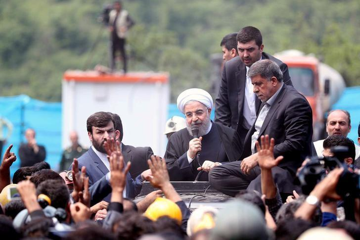 Iran's President Hassan Rouhani speaks as he visits Azadshahr mine explosion site in Azadshahr, Golestan Province, Iran May 7, 2017. Picture taken May 7, 2017. President.ir/Handout via REUTERS