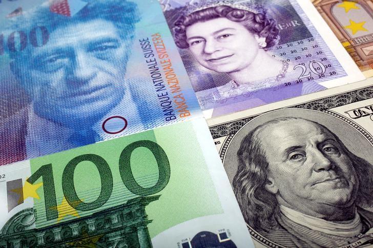 资料图片:2011年1月,美元、瑞郎、英镑和欧元等币种。REUTERS/Kacper Pempel