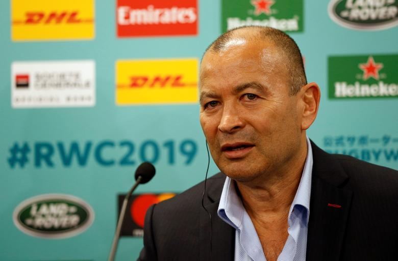 England head coach Eddie Jones attends a news conference after the Rugby World Cup 2019 pool draw at Kyoto State Guest House in Kyoto, western Japan May 10, 2017. REUTERS/Issei Kato