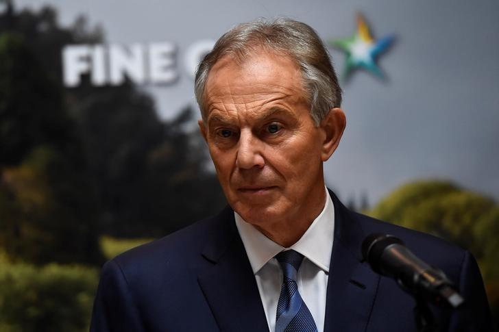 Britain's former Prime Minister Tony Blair speaks at a meeting of the European People's Party in Wicklow, Ireland, May 12, 2017. REUTERS/Clodagh Kilcoyne