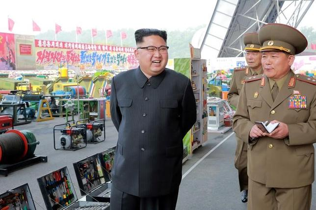 North Korean leader Kim Jong Un visits the exhibition of utensils and tools, finishing building materials and sci-tech achievements organised by the Ministry of the People's Armed Forces in this undated photo released by North Korea's Korean Central News Agency (KCNA) May 13, 2017. KCNA/via REUTERS