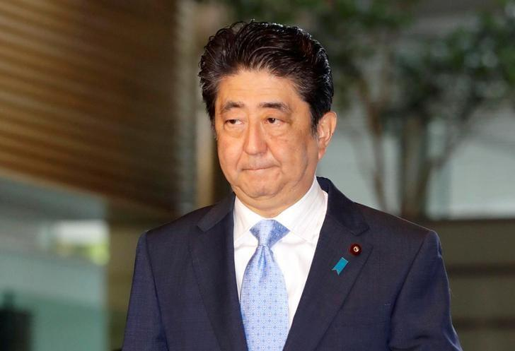 Japan's Prime Minister Shinzo Abe arrives at his official residence in Tokyo, Japan in this photo taken by Kyodo, May 14, 2017, after South Korea's military said that North Korean had fired an unidentified projectile from a region near its west coast. Mandatory credit Kyodo/via REUTERS