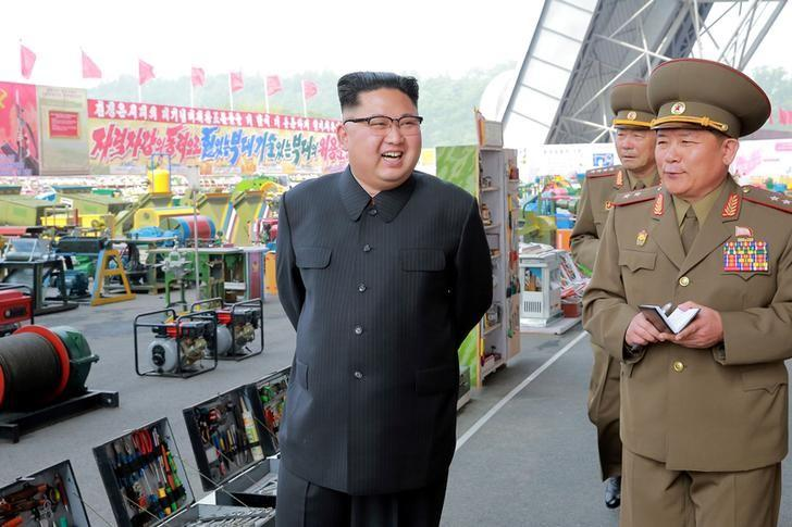 North Korean leader Kim Jong Un visits the exhibition of utensils and tools, finishing building materials and sci-tech achievements organised by the Ministry of the People's Armed Forces in this undated photo released by North Korea's Korean Central News Agency (KCNA), May 13, 2017. KCNA/via REUTERS
