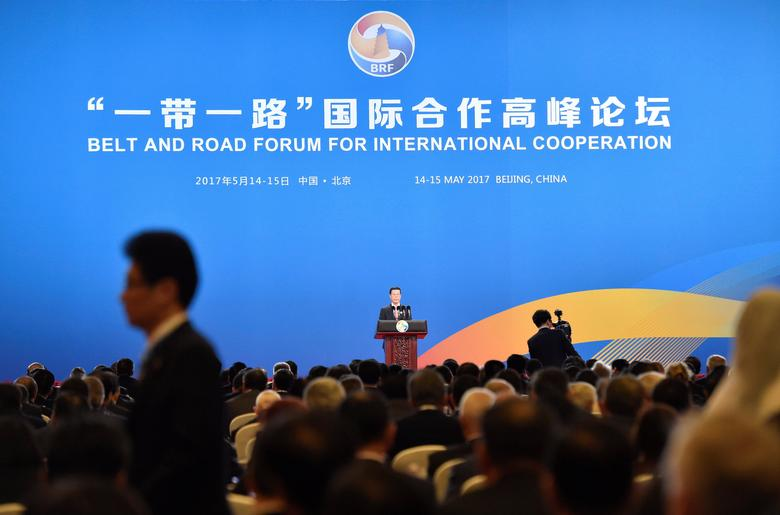 Chinese Vice Premier Zhang Gaoli delivers a speech on the Plenary Session of High-Level Dialogue, at the Belt and Road Forum in Beijing, China May 14, 2017. REUTERS/Kenzaburo Fukuhara/Pool