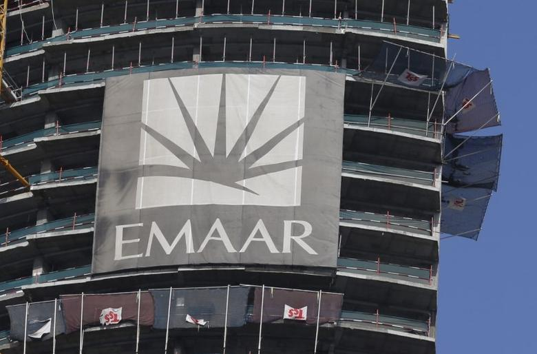 A logo of Dubai's Emaar Properties, builder of the world's tallest tower, is seen at an under-construction building, in Dubai, UAE March 3, 2016. REUTERS/Ahmed Jadallah