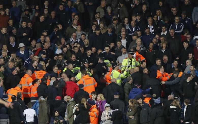 Britain Football Soccer - West Bromwich Albion v Chelsea - Premier League - The Hawthorns - 12/5/17 Fans clash during the game Action Images via Reuters / Carl Recine Livepic