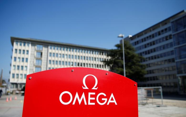 An Omega logo is pictured outside the Swiss watchmaker's Omega factory, part of the Swatch Group, in Biel, Switzerland, March 16, 2017. REUTERS/Denis Balibouse