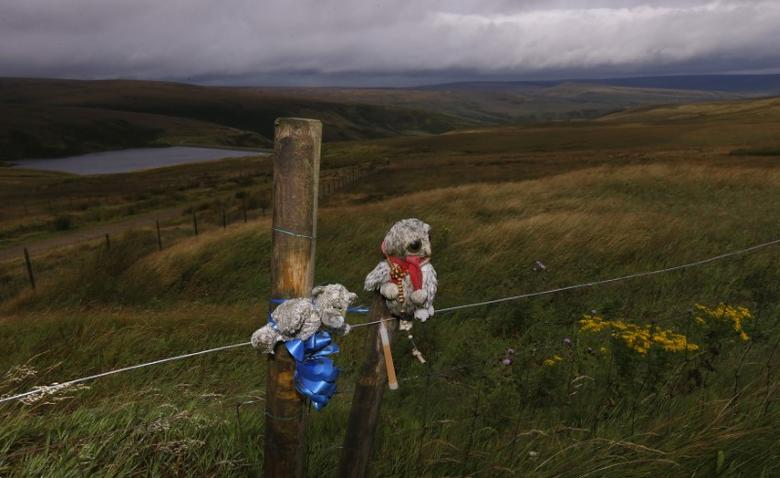 FILE PHOTO: Toys and tributes left by the family of Moors murder victim Keith Bennett are seen tied to a fence on Saddleworth Moor near Manchester northern England, August 17, 2012.   REUTERS/Phil Noble