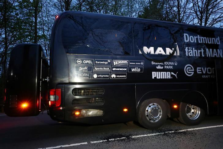 FILE PHOTO: Football Soccer - Borussia Dortmund v AS Monaco - UEFA Champions League Quarter Final First Leg - Signal Iduna Park, Dortmund, Germany - 11/4/17 The Borussia Dortmund team bus is seen after an explosion near their hotel before the game. Reuters / Kai Pfaffenbach/File Photo