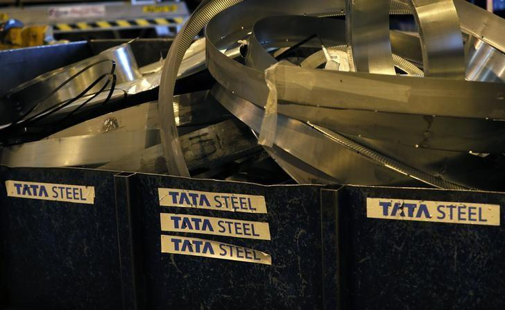 Waste metal is seen at Tata Steel's new robotic welding line at their Automotive Service Centre in Wednesfield, Britain, February 15, 2017. REUTERS/Darren Staples/Files