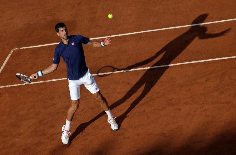 Tennis - ATP - Rome Open - Novak Djokovic of Serbia v Aljaz Bedene of Britain - Rome, Italy- 16/5/17- Djokovic returns the ball. REUTERS/Max Rossi