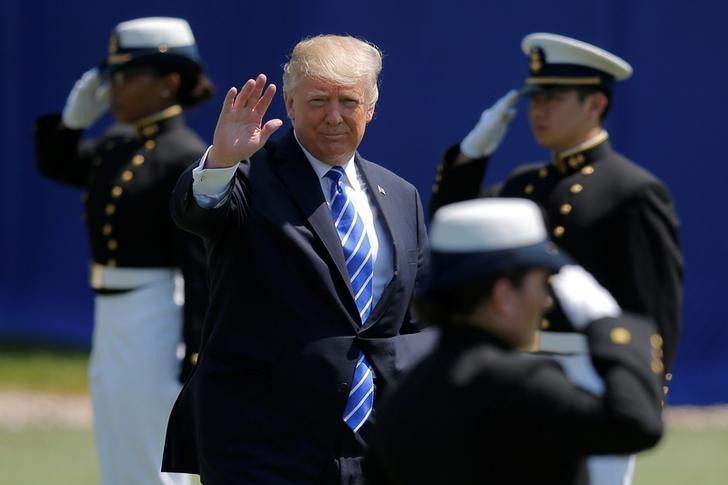 U.S. President Donald Trump arrives for the U.S. Coast Guard Academy commencement in New London, Connecticut, U.S., May 17, 2017. REUTERS/Brian Snyder