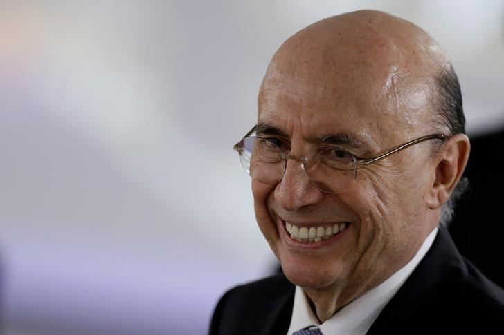FILE PHOTO - Brazil's Finance Minister Henrique Meirelles smiles during a meeting between Brazil's president Michel Temer and Spanish Prime Minister Mariano Rajoy at the Planalto Palace in Brasilia, Brazil April 24, 2017. REUTERS/Ueslei Marcelino