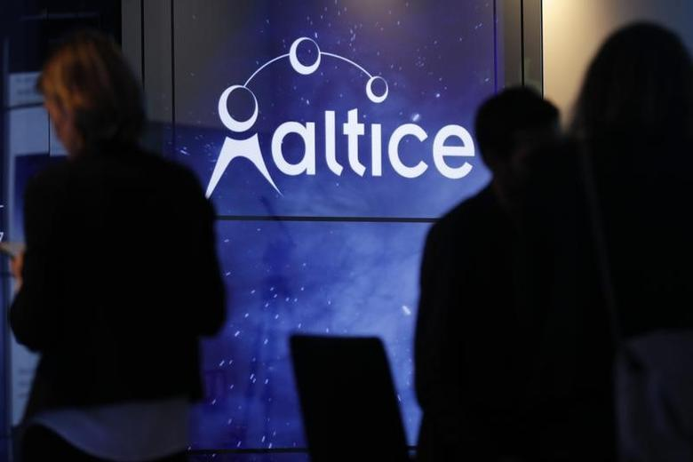 The logo of cable and mobile telecoms company Altice Group is seen during a news conference in Paris, France, March 21, 2017. REUTERS/Philippe Wojazer -