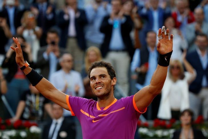 Tennis - ATP 1000 Masters - Madrid Open - Men's Singles Final - Dominic Thiem of Austria v Rafael Nadal of Spain - Madrid, Spain - 14/5/17 - Nadal celebrates at the end of his match. REUTERS/Susana Vera/Files