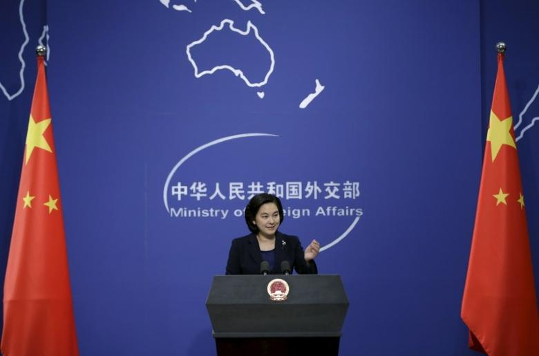 Hua Chunying, spokeswoman of China's Foreign Ministry, gestures at a regular news conference in Beijing, China, January 6, 2016. China's Foreign Ministry said on Wednesday that Beijing did not have advance knowledge of North Korea's test of a miniaturized hydrogen nuclear device, adding that it firmly opposes Pyongyang's action. REUTERS/Jason Lee