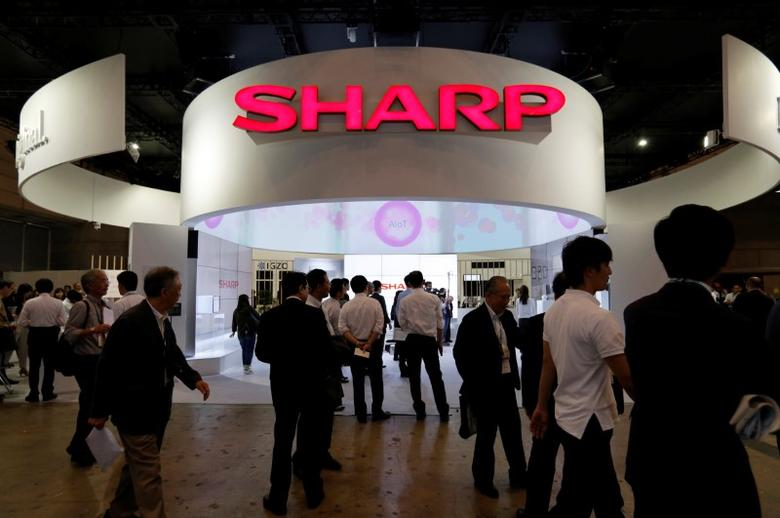 A logo of Sharp Corp is pictured at CEATEC (Combined Exhibition of Advanced Technologies) JAPAN 2016 at the Makuhari Messe in Chiba, Japan, October 3, 2016. REUTERS/Toru Hanai/Files