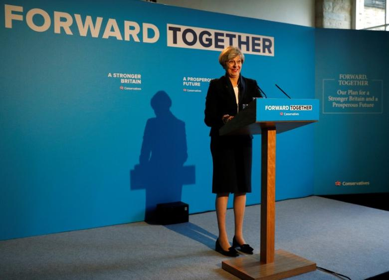Britain's Prime Minister Theresa May's launches her election manifesto in Halifax, May 18, 2017. REUTERS/Phil Noble