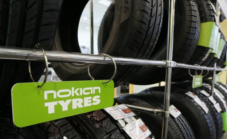 Nokian tyres are pictured on display at the ''Krepost'' Toyota dealership in Russia's Siberian city of Krasnoyarsk, August 8, 2014. REUTERS/Ilya Naymushin