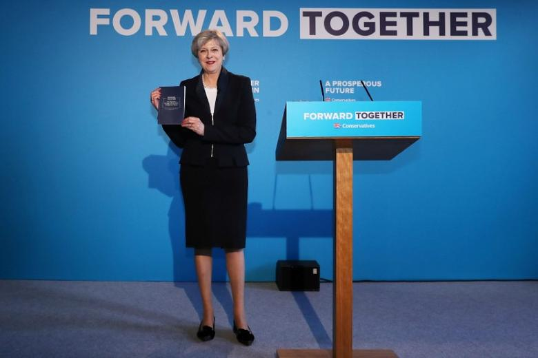 Britain's Prime Minister Theresa May's launches her election manifesto in Halifax, May 18, 2017. REUTERS/Dan Kitwood/Pool.