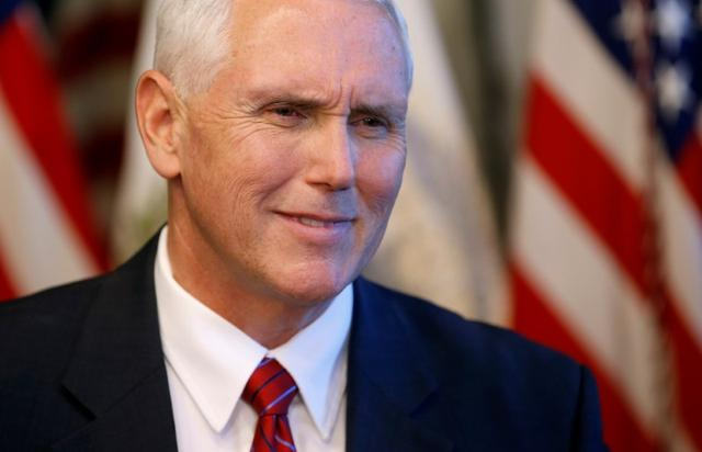 U.S. Vice President Mike Pence speaks during an event celebrating National Military Appreciation Month and National Military Spouse Appreciation Day at the Eisenhower Executive Office Building in Washington, U.S., May 9, 2017.      REUTERS/Joshua Roberts - RTS15WQR